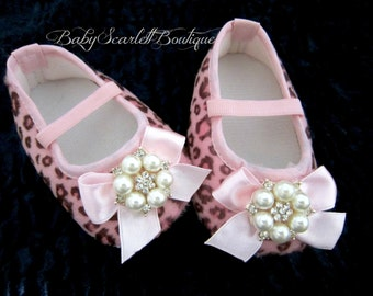Pink Leopard Baby Girl Soft Sole Shoes,Crib Shoes