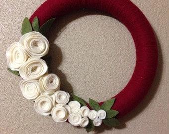 Yarn & Felt Rosette Wreath