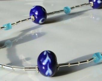 Delicate blue lampwork necklace
