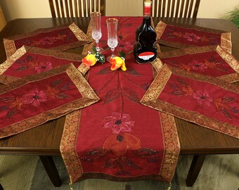 Hand Painted 7-Piece Placemat & Table Runner Set (Saffron Red)