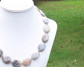 Grenata - Chunky Bamboo Jasper Gemstone and Czech Glass Crystal Beaded Necklace