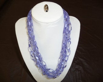 Periwinkle ribbon lattice crocheted necklace.