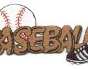 Baseball Cleats WHITE RED Baseball words transfer, applique, Iron or Sew On patch by Cedar Creek Patch Shop