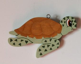 Tole Painted Wood Sea Turtle Ornament