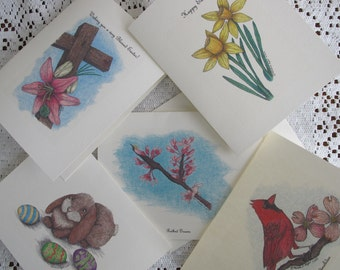 Assortment of Note Cards - Pen and Ink Drawing of Spring and Easter Motifs