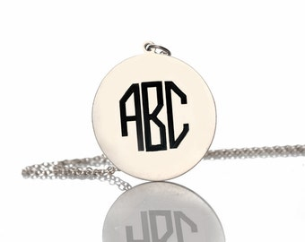 Octagon monogram necklace Personalized  monogram Initials necklace silver name Necklace 1 inch monogram necklace Custom Name Jewelry