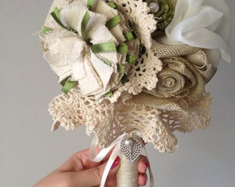 Ready to Buy - Vintage Inspired Fabric Bridal Bouquet