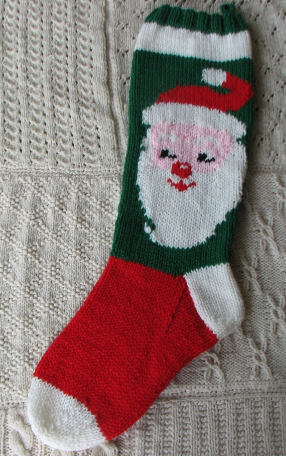 Santa Christmas Stocking Hand Knitted by StitchingUpMemories