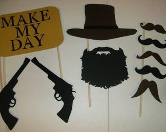 Cowboy western Photo Booth Prop Set Mustache, Glasses, Hats  Guns (2031D)