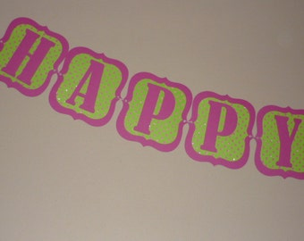 Happy Birthday Banner Pink/Green poka dots (518B)