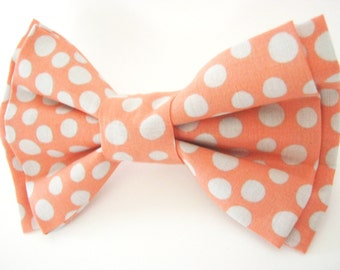 Peach Polka Dot Dog Bow Tie Small Medium Large Double- Stacked Removable Bowtie