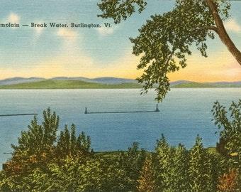 Lot of Five Vintage Linen Post Cards - Lake Champlain Break Water Burlington, Vermont - MINT NOS