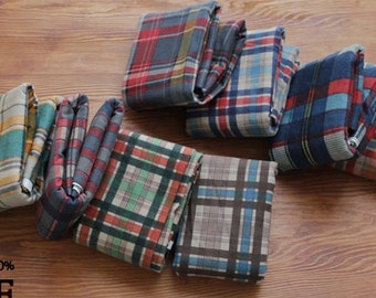 Flannel Cotton Fabric Plaid in 8 Colors