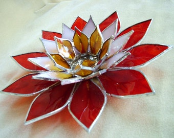 Candle holder décor flowered Tiffany Fire Dahlia handcrafted