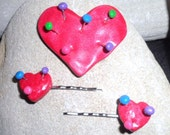 Tim Burtons Voodoo Girl  Polymer clay Large Heart Brooch and Hair Grip Slide Set