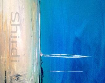 Abstract Painting Sail boat Coastline Sea maritime landscape