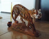TIGER Holland Mold Pottery Sculpture - TIGER Vintage Artwork, Handmade Tiger