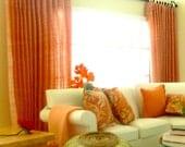 Dollhouse miniature full length curtains double or single width.