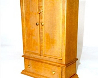 Armoire wooden handmade one of a kind this is not a kit dollhouse miniature 1/12 scale