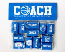 Basketball Coach Gift – Printable Basketball Mini Candy Bar Wrappers & Matching Treat Toppers – Coach Thank You Gift – End of Season Treats