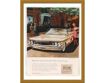 "1960 Pontiac Bonneville Convertible Color Print AD / The only car with wide-track wheels / 10"" x 13"" / Buy 2 ads Get 1 FREE"