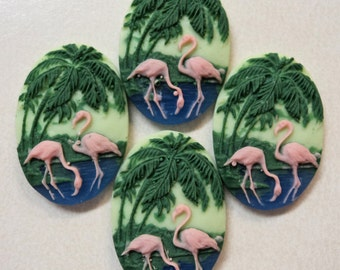 25mm x 18mm multi colored pink flamingos cameos 4 pc lot l