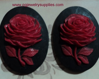 40x30 single oval red rose bud on black resin cameos 2 pieces