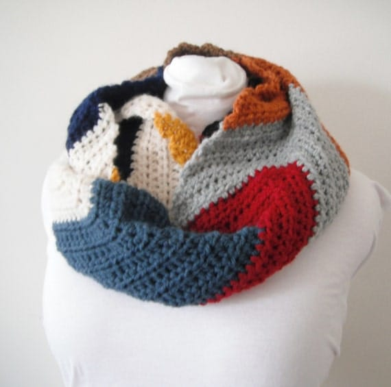 Crochet Zig Zag Scarf : Scarf cowl Chevron Zig Zag crochet wool warm multi colored handmade ...