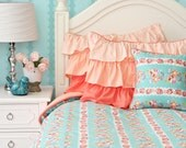 Lovely Coral Lace Twin, Full, Queen Bedding