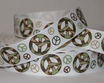 "1 YD Grosgrain Ribbon 7/8"" Camo Peace Sign"