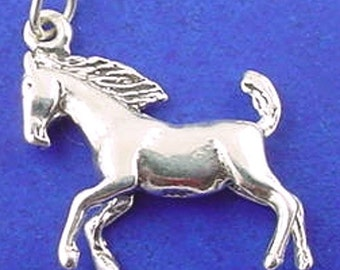 Galloping STALLION Charm .925 Sterling Silver Horse Pendant - sc162
