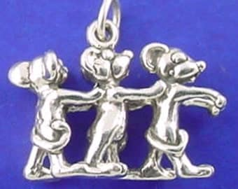 Three BLIND MICE Charm, Mouse, Nursery Rhyme .925 Sterling Silver Charm