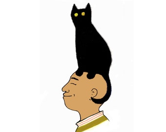 CAT ON HEAD beautifully simple card for the cat lover in your life . A celebration of cats just doing their own thing..we are honoured  !.