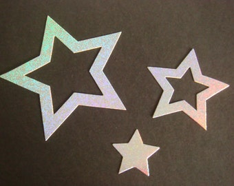 Silver holographic Nesting Stars for christmas cards/toppers die cuts for cardmaking scrapbooking craft project