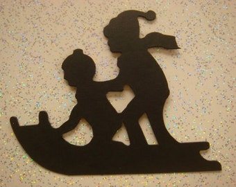 10 Black Silhouette Children on Sledge christmas die cut card toppers - cardmaking/scrapbooking