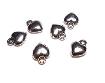 6 Puffy Heart Charms, 10mm, Antique Silver Puffy Hearts Charms, Charms for Jewlery Making, Silver Charm SC0045
