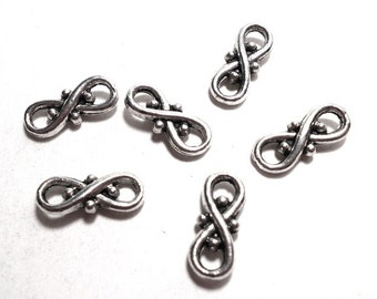 6 Love Infinity Connectors, Antique Silver 16x8mm, Infinity Symbol, Small Connectors, Small Connector Charms, Silver Charm Connector SC0053