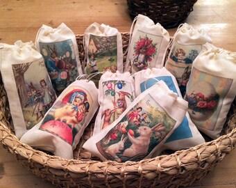 Easter Basket Gift Egg Hunt Bags. Set of 10 Victorian Vintage 4x6 Drawstring Party Favor Bags (Set 1)