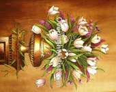Tulips Original Floral Painting Acrylic Large Wood Pyreography White Tulips Still life