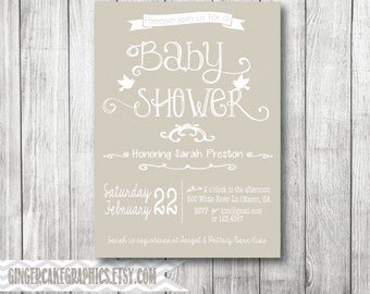 Gender Neutral Baby Shower Invitation - Invite - Printable