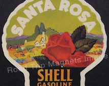 Shell Gasoline 1920s Travel Decal Magnet for SANTA ROSA. Accurately Reproduced & hand cut in shape as designed. Nice Travel Decal Art
