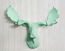 The Alberta in Mint - Faux Moose Head Green Fake Taxidermy Resin Arial Decor Turquoise Ceramic Mount Plastic Wall Fauxidermy Mounted Art