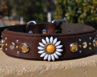 Handmade, custom leather dog collar that you customize for your pooch!
