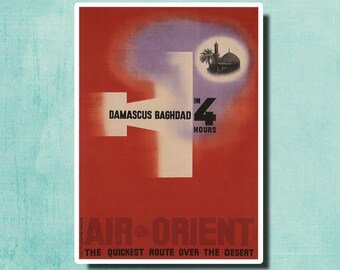 Damascus Baghdad In 4 Hours - 1932 - Vintage Airline Travel Poster SG2941