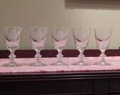 Reserved for Ann Vintage set of 6 pineapple etched Crystal / Claret / Wine Glasses