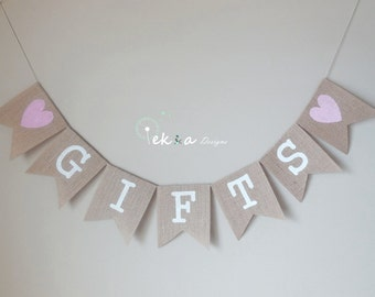 GIFTS burlap banner / wedding burlap banner / wedding bunting / wedding garland / reception banner - hearts