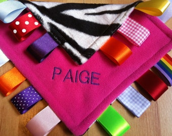 Personalised or Unpersonalised Taggy Blanket/Comforter/Gift in Bright Pink