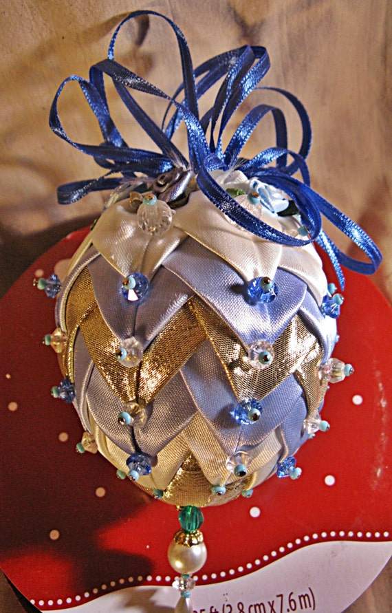 Christmas ornament s pleated fabric beads embellished