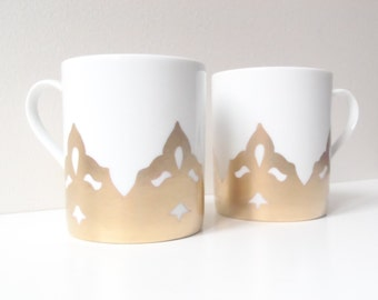 Mugs -- CROWN -- // Made to order // White porcelain and Gold Crown Mugs -- Handpainted by SophieLDesign