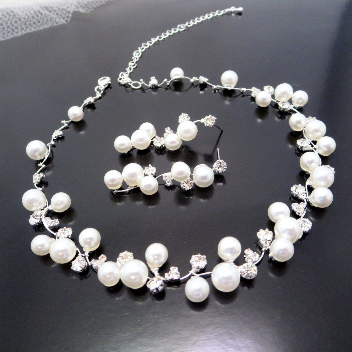 Bridal Pearl Necklace Set Wedding Jewelry Set Bridal